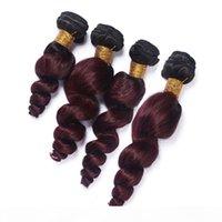 Loose Wave Wavy # 1b 99j Wine Red Ombre Virgin Peruanian Human Hair Weaves Black und Burgund Ombre Human Hair Bundles Angebote 4pcs Lot
