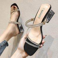 Mode Strass Square Ferse Slip auf Schuhe für Frauen High Heel Sandalen Hausschuhe Sommer Strand Damen Slides Weibliche Schuhe SH439 Schuhe UK Platform Boo O8GB #