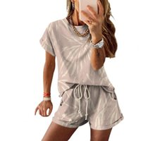 Summer Women Two Pieces Set Outfit Short Sleeve O Neck Tie Dye T-shirt Pockets Shorts Casual Sports Sets Women's Tracksuits