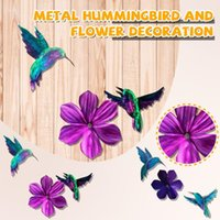 Decorative Objects & Figurines Hummingbird Set With Three-Dimensional Metal Floral Iron Garden Decoration Gift 5d Diamond Painting Full Bird
