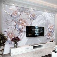 النمط الأوروبي 3d مجسمة مجوهرات الزهور صور خلفيات غرفة المعيشة التلفزيون خلفية جدار جدارية فاخرة ديكور المنزل جدار الأوراق Q0723