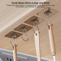 Hooks & Rails Storage Hook Hanger Self Adhesive Adjustable Wall Rack Kitchen Bathroom Punch-free Non-marking Strong Sticking
