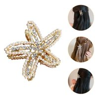 Charm Bracelets 1Pc Hair Jaw Clip Headdress Alloy Pearl Elegant Claw For (Golden)