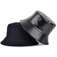 Wide Brim Hats 2021 Faux Leather Bucket Hat Women Reversible Pu And Cotton Soild Sun Fashion Bob Panama Autumn Waterproof Fisherman