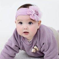 Accesorios para el cabello Flores de gasa grande de la gasa anchos para niñas de invierno Nylon Head Wraps for Born Baby Lindos regalos de cumpleaños al por mayor