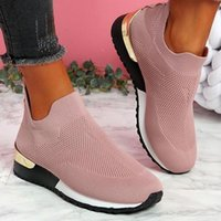 Women's Vulcanize Shoes Sneakers Women Slip-On Knit Solid Flats Female Sport Running Casual Mesh Ladies