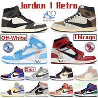 Hohe Nike Jumpman Basketballschuhe Air Jordan 1 1S Mens Turnschuhe Chicago aus weißem Wolf Grau Segel Mid Mailand Infrarot 23 Turf Orange Canyon Rost Männer Frauen Trainer