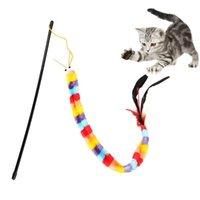 القط لعب الأسمسوغ مضحك دعابة العصا التفاعلية الديك شكل وهمية ريشة لعبة الحيوانات الأليفة تلعب التدريب