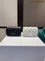 Matching box women's designer black and white pearl diamond ball leather shoulder messenger bag size 23*15cm