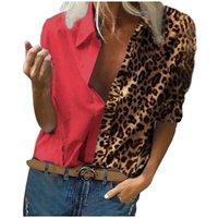 Blusas de mujer Camisas para mujer Leopardo Patchwork Blusa Casual V Cuello de manga larga Tops Lady Elegant Office Blusa Plus Tamaño 5XL T72N