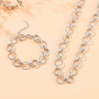 Earrings & Necklace Dubai Gold Jewelry Sets Lock Bracelet For Women Twist Chunky Choker Chain Party Adornment