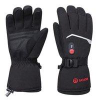Ski Handschuhe erhitzt 3 Schicht Temperaturregler Heizung Skifahrer Wasserdicht Elektrische Winter Warme Schnee