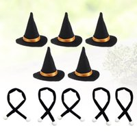 Chapéus de festa 10 pçs mini bruxa feita artesanal decoração decoração cachecol vestido up halloween diy artesanato (chapéu e)