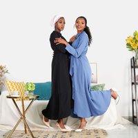 Middle East Fashion Dubai Abaya Split Design Silk Luxury Satin Fabric Hijab Dress Muslim Women Turkey Kaftan Islamic Maxi Robe