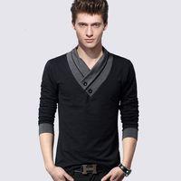 v Brand Men neck t shirts 4xl long sleeve tshirts Korean mens t-shirts Spring and Autumn plus size shirts for men cotton T-shirts