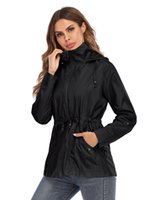 Waist retracted hooded breathable mesh outdoor mountaineering rainproof jacket