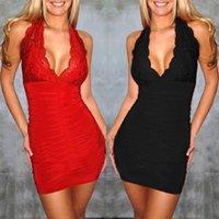 Casual Dresses Elegant Lace Splicing Bodycon Sexy Halter Dress Women Backless Sleeveless V-neck Mini Party Short Red Vestidos