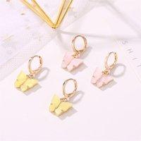Hoop & Huggie Sweet Colorful Acrylic Butterfly Earrings For Women Wedding Party Fashion Gold Metal Drop Jewelry