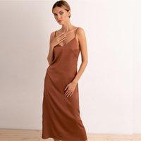 Sexy V-образные шеи спагетти ремешок пятно платье женщин платье без спинки платье весна лето новая элегантная мода твердая уличная одежда MIDI платье