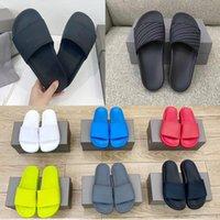 2021 SS zapatillas para hombre para mujer de verano Sandalias de diapositivas de la playa Confort Flip Flops Cuero ancho Damas Chaussures Zapatos con caja
