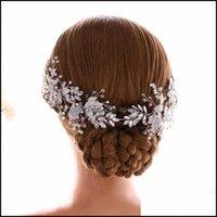 Jewelryslbridal Handmade Sier Color Crystal Rhinestone Pearl Flower Leaf Wedding Tiara Headband Bridal Hair Aessories Women Jewelry Drop Del