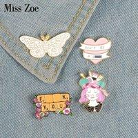 배지 공예 나비 소녀 키보드 배너 브로치 에나멜 가방 데님 셔츠 옷깃 핀 낭만적 인 꽃 쥬얼리 선물