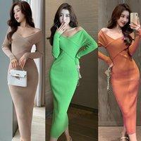 Robes décontractées 2021 robe moulante tricotée Femmes V col de collier Spring Automne Front Front Haute Sexy Sexy Pull Vestidos Longo Robe Femme