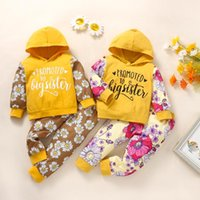 Clothing Sets Toddler Infant Baby Girl Clothes Boys Letter Hooded Long Sleeve Sweatshirt+Floral Pants Outfits Set Kids Casual Outfit