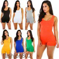 women jumpsuit 2020 Sexy Romper Bodysuit Bodycon Deep V Neck Short Pants Sleeveless Tank Sporting Clothing Feminino Playsuits fashion802