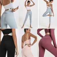 Yeni Lulu Spor Yoga Kıyafetler Pantolon Tayt kadın Yüksek Bel Kalça Nefes Çıplak Hizansa Fitness Pantolon Hızlı Kuruyan Giysi VFU Cep D6RN #
