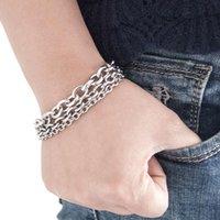 Link, Chain Men's Bracelet Three Men Silver Stainless Steel Link Bracelets Male Punk Jewelry Pulsera Hombre