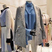 Blazer Frühling Herbst Frauen Korean Casual Quaste Plaid Blazers Ol Elegante Vintage Zweireiher Blazer Mäntel A67