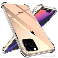 Funda telefónica transparente para iPhone 13 12 11 Mini Pro MAX XS XR 8 7 PLUS SAMSUNG S20 TPU protectora a prueba de golpes de choques
