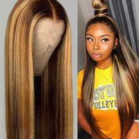 여성 가발 유럽과 미국 컬러 중간 길이 스트레이트 헤어 3 색 그라데이션 가발 검은 갈색 골드 스트레이트 - 머리