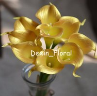 Gold Calla Lilies Real Touch Flowers For Wedding Bouquets Centerpieces Artificial Decorative & Wreaths