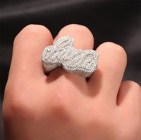 Kundenspezifischer Name A- Z Gravier Buchstaben Ringe Micro Pave Cubic Zirkonia Schmuck DIY Männer Frauen Geschenk Hip Hop Ring