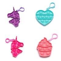 2021 Decompression Children Adult Push Bubble Fidget Sensory Toy Key Ring Educational Mini Anti-stress Toys DHL Shipping 2828 Y2
