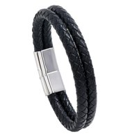 Link, Chain European And American Fashion Stainless Steel Bracelet Multi-layer Braided Black Leather