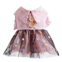 Dog Apparel Cute Stripe Dress Tutu Skirt Summer Female Girl Puppy Hoodie Shirt Clothes Costume For Yorkie Chihuahua