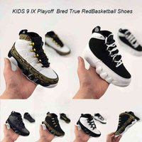 LA All-Star White Black Metallic Gold 9S Bred IX Space Jam Playoff Bred True Red Basketball Shoes 9 Kids Children Sports Trainer Sneakers