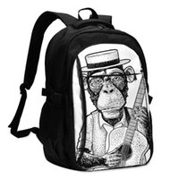 Backpack Bags School For Boy Girl TeenagerFunny Monkey Dressed Hat And Shirt Holding Guitar USB Charge Computer Laptop Back Pack