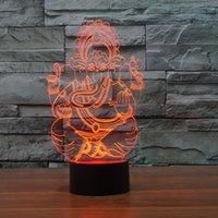 Ganesh Gott 3d Nachtlicht, Berührung 7 Farben Ändern, Optische Täuschung LED-Lampe USB Tischschreibtisch Beleuchtung Kinder Spielzeug Schlafzimmer Dekor Weihnachtsferien Geburtstagsgeschenke Junge Mädchen