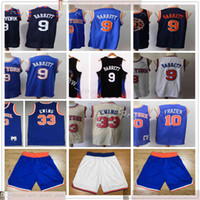 2021 New Navy Blue City Basketball RJ 9 Barrett-Trikots Nähte Retro 10 Walt 33 Patrick Frazier Ewing Jersey Top Qualität Blau White Shorts