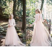 2020 Blush Pink Country Style Wedding Dresses Cheap Long Sleeves A Line Tulle Lace Applique V Neck Bridal Gowns For Garden Beach