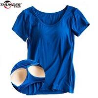 Modal eingebaut in gepolsterter BH T-shirt Frauen Kurzarm Atmungsaktive Kleidung Weibliche Bottoming T-shirt Tops Casual Lady Top Tees 210331