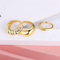 2021 Hot Selling 3-Piece Stack Twisted Twisted Big Dome Ring Bee Ring with Copper and Real Gold Plated