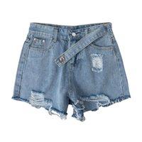 Ailegogo Женская летняя улица отверстие голубые джинсовые шорты старинные женские высокие талии плюс размер 5xL твердого цвета джинсы женские