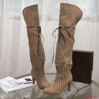 2021 Brand Women's Boots Designer Genuine Pelle Red Beige Canvas Over the Knee Boot's Zipper Laces Scarpe Casual Fashion High Head Donne