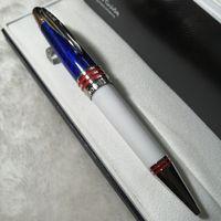 Luxury Penna fontana blu fibra di carbonio nero di alta qualità di alta qualità RolelRball Penne a sfera con JFK Carving logo Marca prodotto @yamalan