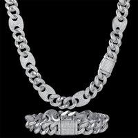 Pendant Necklaces Unique Zircon CZ Hip Hop Miami Cuban Link Chain 16mm Pig Nose Bracelet Men Necklace Drop Fashion Black Jewelry Wholesale